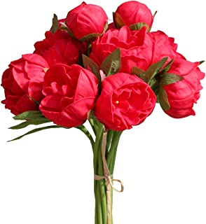Mandy's Artificial Latex Red Peony Flowers Bouquet for Home Wedding Decoration