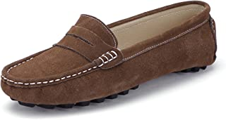 Women's Casual Leather Driving Slip On Penny Loafers Boat Shoes Flats
