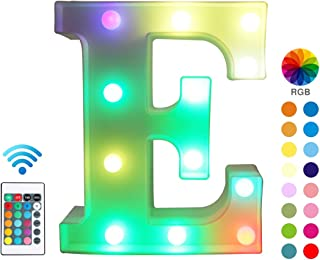 Pooqla Colorful LED Marquee Letter Lights with Remote – Color Changeable Light Up Alphabet Signs – Party Bar Letters with Lights Decorations for The Home - Multicolor E