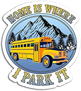 Hand Wooden Customizable Sticker Home is Where I Park It Mountain Skoolie Bus Rv Travel Stickers for Personalize (3 pcs/Pack)
