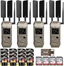 Cuddeback CuddeLink 20MP Dual Cell Trail Camera 4-Pack with Memory Cards, Batteries, and Focus USB Reader Bundle, 1/4 Sec Trigger Speed, No-Glow Black Flash and Long Range IR Options