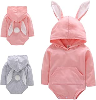 Infant Toddler Baby Girl Boy Rabbit Long Ears Hoodies Bunny Romper Jumpsuit with Pocket Autumn Winter Outfit