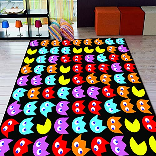 Pacman - Alfombra con motivos para sala de estar, antideslizante, alfombra para habitación de niños, regalo personalizado, alfombra temática gezcocuk-160 x 230 cm