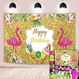 BINQOO 2 x 1,5 m Hawaiano Flamingle Aloha Golden Bokeh Telón de fondo tropical flores de palma piña fiesta de cumpleaños fotografía fondo pastel decoración de mesa