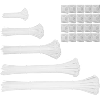 600pcs white Standard Self-Locking Nylon Cable Zip Ties Assorted Sizes 4/6/8/10/12 Inch with cable mount