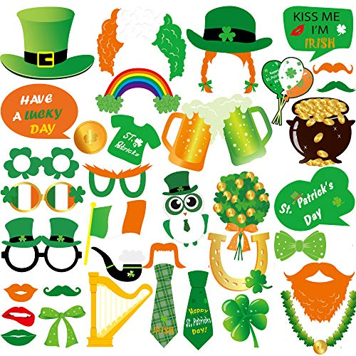 FEPITO 38 Pièces Accessoires Photo Booth Props pour St Patrick Décorations Masquerade Accessoires Irish Day Creative Drôle Accessoires Déguisement pour Fêtes ou Photos Groupe