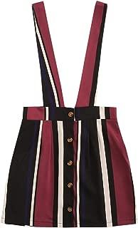 MAKEMECHIC Falda con Botones para Mujer, Striped 1, M