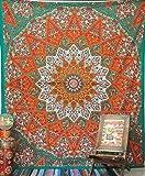 Tapiz de mandala con estrella de color naranja indio para colgar en la pared o para decorar el hogar
