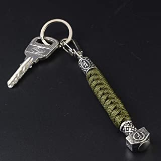 Viking Mens Paracord Lanyard Keychains-Handmade Keyring with Viking Rune Beads Norse Thor's Hammer Beads Braided 550 Paracord Keychain Black Viking Jewelry Gift for Men and Women (Armygreen-F)