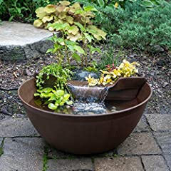 A simple, easy, and fun way to add the sights and sounds of a water garden to any location Provides a relaxing focal point for homes, patios, offices, balconies, bedrooms, gardens, and more Includes plant and waterfall filter, LED waterfall light and...