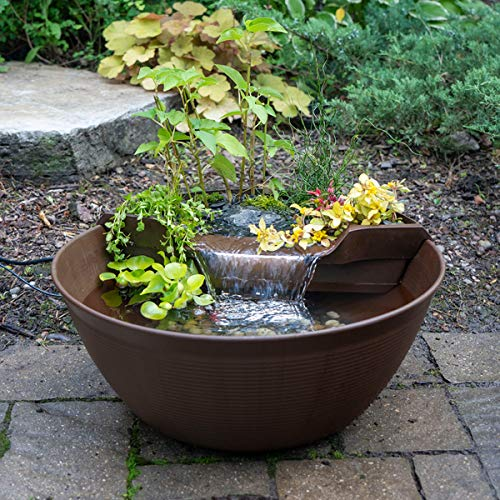 Aquascape 78325 AquaGarden Pond and Waterfall Kit Container Water Garden, Brown