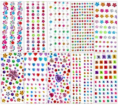 Gresunny 10 hojas pegatinas brillantes para decorar diamantes autoadhesivas stickers de brillantes de imitacion de gemas cristal adhesivos piedras preciosas para niños DIY manualidades decoración