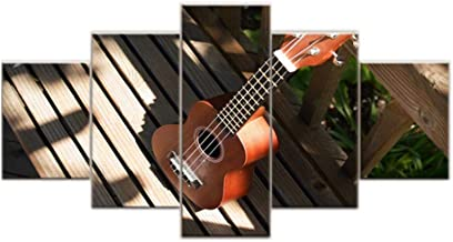 Canvas Wall Art Pictures 5 Panels Musical Instrument Ukulele Painting Living Room Home Decor Modular HD Prints Poster Framework