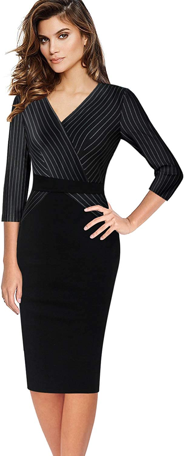 VFSHOW Womens Retro Stripes Business Wear to Work Cocktail Pencil Dress
