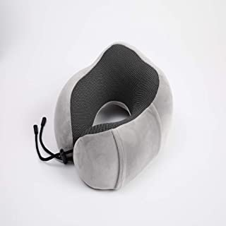 eoocvt Travel Pillow Pure Memory Foam Neck Pillow Stops The Head from Falling Forward Sleep Mask Earplugs for Airplane Car Home Gray