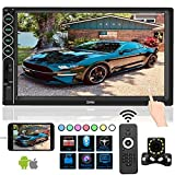 Double Din Car Stereo with Bluetooth Car Audio Receiver, Upgraded 7 ''Capacitive Touch Screen car Radio Support FM/USB/TF/Aux-in/SWC/Mirror Link/with Remote Control and 12 LED Rear View Camera.