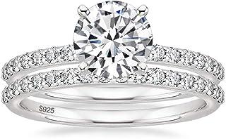 حلقه عروس نقره ای EAMTI 1.25CT 925 حلقه حلقه نامزدی حلقه های حلقه نامزدی برای بندهای عروسی او برای زنان سایز 3-11