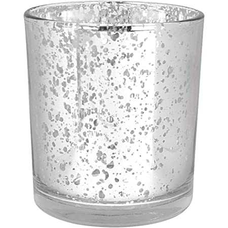 Mercury Glass Votive Candle Holders for Weddings and Home D/écor Just Artifacts Mercury Glass Votive Candle Holders 3-Inch Speckled Silver Set of 25