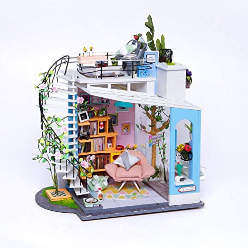 YWJHY DIY-Kabinen-Macaron-Dachspitze-handgemachtes Holz zusammengebautes Landhaus-Modell kreatives Geschenk,Blau,EinheitsGröße
