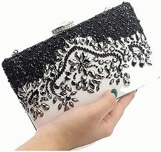 Pusaman Beads PU Leather Bag, Evening Bag Ladies Retro Luxury (Color : Black, Size : 20 * 4 * 13.5)