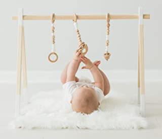 Wood Play Gym with 3 Hanging Toys I Minimalist Design I Activity Center I Baby Registry Must Have