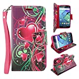 Moto Droid Turbo 2 Case, Moto X Force Case, Kinzie Bounce Case - Customerfirst, Magnetic Flip Wallet Case with Stand Feature for Moto Droid Turbo 2 - Includes Key Chain (Floating Hearts)