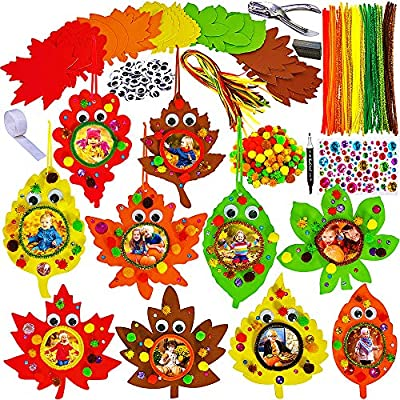 20 Sets Fall Leaf Ornaments Decorations DIY Fall Leaf Picture Foam Frame Craft Kit Assorted Autumn Leaf Shapes Stickers Pipe Cleaner Pom-Poms Googly Eyes for Kids Art Gift Thanksgiving Halloween Decor