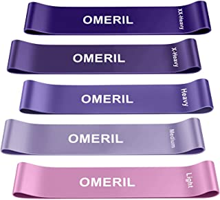 باندهای حلقه مقاومت OMERIL ، 5 بسته تمرین باند لاتکس با 5 سطح مقاومت ، نوارهای ورزشی مناسب پوست با کیف حمل برای تمرین در منزل ، تمرینات قدرتی ، فیزیوتراپی ، یوگا ، پیلاتس