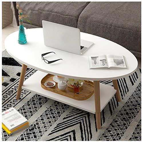 Table basse Ovale Side Table 2 Couches en Bois Rétro Table À Thé Salon Balcon Petit Appartement Canapé 100X50X42cm MUMUJIN (Color : White)