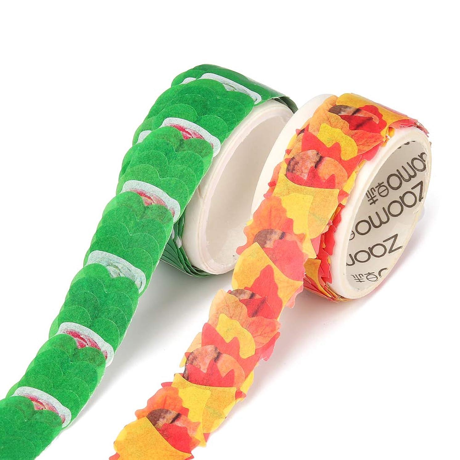 Molshine 2 Roll Creative Floral Petal Washi Tape, Masking Tape Decorative Decals,Crafts DIY Petal Stickers for Scrapbooking, Bullet Journal, Planner, 200 Petals/Roll (Four-Leaf-Grass & Maple Leaf) vjrfceqrpl8002