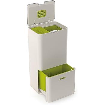 Joseph Joseph Totem 60 L - Cubo de basura, separación y reciclaje color Blanco Piedra (Stone): Amazon.es: Hogar