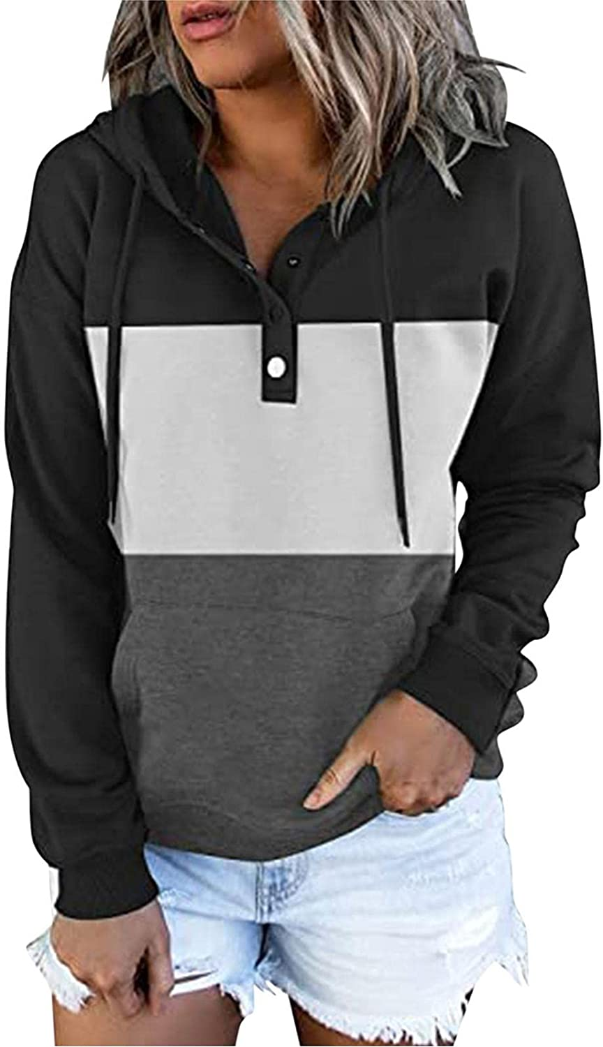 COMVALUE Womens Hoodies,Drawstring Pullover Color Block Long Sleeve Button Down Casual Sweatshirts with Pocket