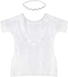 YeahiBaby YeahiBaby Niedliche Baby Girl Fotografie Prop, Backless hohlen Bowknot Lace Kostüm Foto Requisiten - White Strampler und Silber Halskette