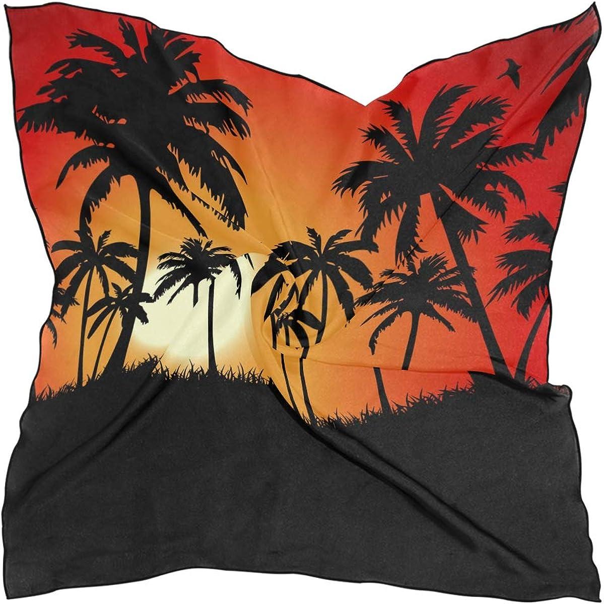 XLING Fashion Square Scarf Vintage Palm Tree Sunset Lightweight Sunscreen Scarves Muffler Hair Wrap Headscarf Neckerchief for Women Men