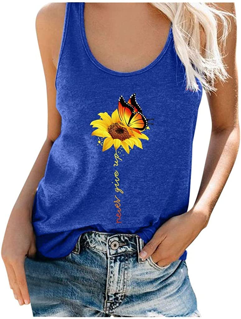 Gerichy Tank Tops for Women, Womens Summer Tops Loose Fit Shirts Sunflower Sleeveless Casual Shirts Tunics Tees Vest