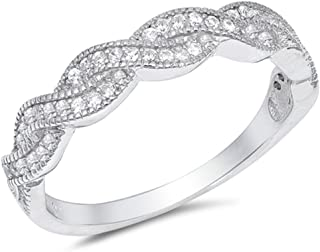 CloseoutWarehouse Clear Cubic Zirconia Braided Band Ring Sterling Silver