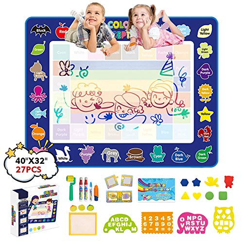 JANTODEC Aqua Magic Water Doodle Drawing Mat 40x32 Inches Coloring Painting Writing Mat-No Mess Educational Toys Christmas Birthday Gifts for Kids Toddlers Girls Boys Age 3 4 5 6 7 8 Years Old