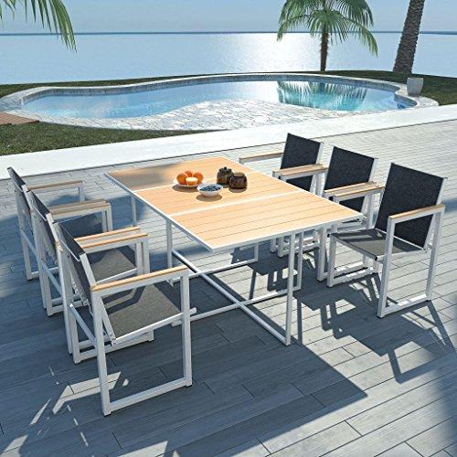 UnfadeMemory - Juego de comedor de jardín, mesa y sillas de exterior de aluminio, mesa de WPC (165 x 100 x 72 cm, 7 unidades)