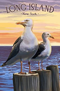 Long Island, New York - Seagulls on Pier 95017 (16x24 SIGNED Print Master Art Print - Wall Decor Poster)