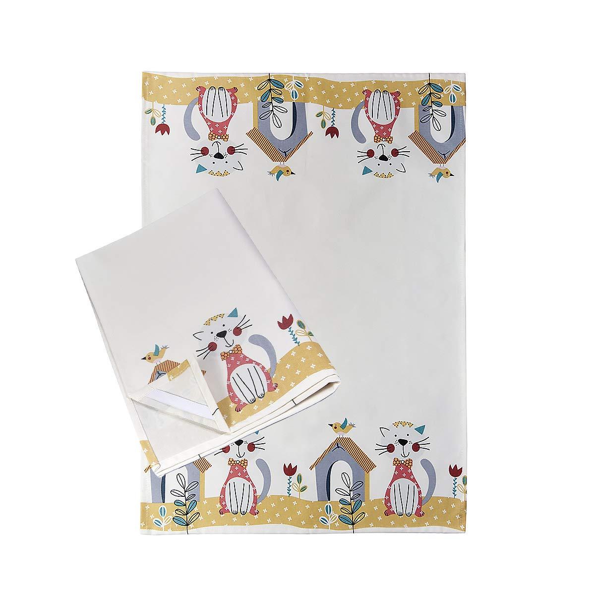 Paños de Cocina, 100% Algodon 50 x 70 cm, Trapos de Cocina, Juego de 2 Blancos con Diseño de Lindo Gato, Regalos Originales para Mujer Amantes de los Gatos y Animales: Amazon.es: Hogar