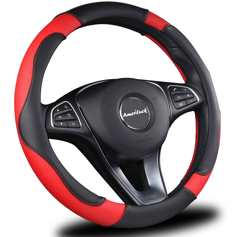 AmeriLuck Car Steering Wheel Cover, Universal 15 inch, Odorless, Breathable, Anti-Slip, Sporty, Soft & Snug Grip (Micro Fiber, Red | Black)