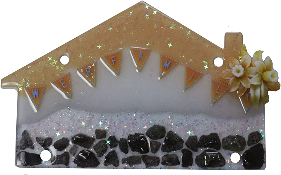 Hanging House Shaped Plaque Handmade Special Gift Perfect For Your family We R Family Sign With Lily Flower And Stones Epoxy Resin