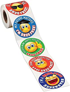 Emoji Themed Drug Free Assortment 5-On-A-Roll Stickers