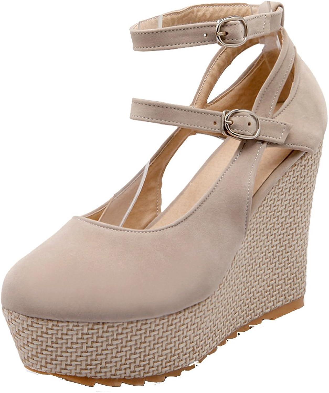 AIYOUMEI Women's Suede Wedge Ankle Strap High Heels Platform Pumps shoes