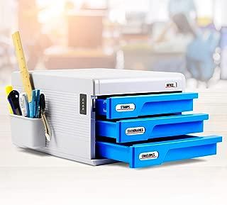 Locking Drawer Cabinet Desk Organizer - Filing & Organizing Paper Documents, Tools, Kids Craft Supplies - Home Office Desktop File Storage Box W/ 3 Lock Drawers - SereneLife