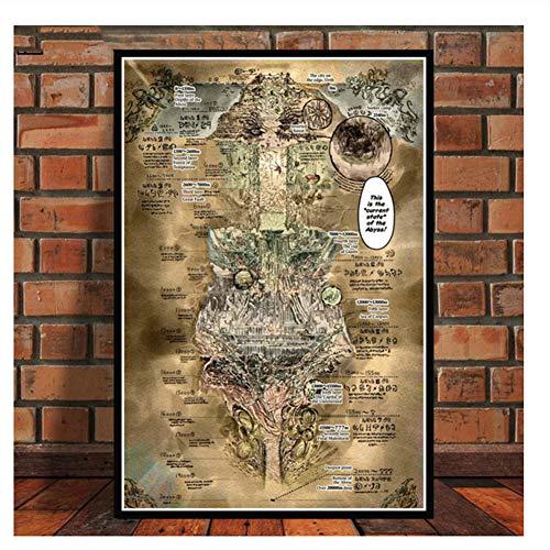 Imágenes Poster Made In Abyss Mapa Mundo Gran Anime Película Wall Artwork Nordic Home Decorativo Lienzo HD Impresiones Pinturas-50x70cm Sin marco