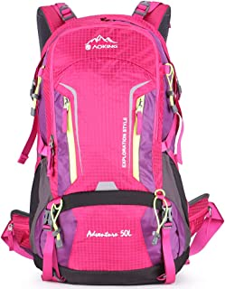 Aoking Large 50L Hiking Backpack with Rain Cover Travel Lightweight Daypack Rucksack for Outdoor,Camping,Climbing,Overnight (Pink)