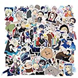 Anime Stickers QINXIANG 100pcs Japanese Anime Stickers Waterproof Vinyl Aesthetic Stickers for Laptop Hydroflask Water Bottle Skateboard Snowboard Luggage Guitar