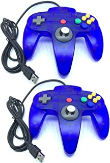Bowink 2 packs Classic Retro N64 Bit USB Wired Controller for PC -Clear Blue and Clear Blue