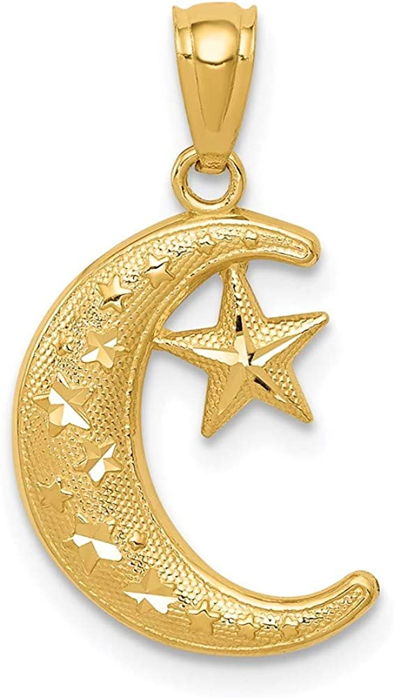 Max 42% OFF Charm Pendant 14K Yellow Gold Moon Textured Polished Stars Now free shipping